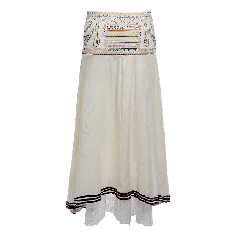 Everkaki Bohemian Cotton Embroidery Women Gypsy Ladies Skirts Lace Up Beach National Long Skirts Female Casual Skirts 2018 (3)