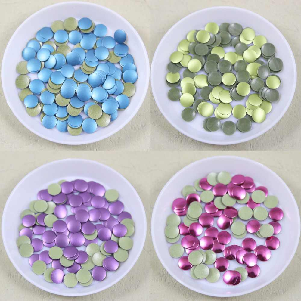 288 pcs/lot 6mm round iron-on hotfix aluminum metalic with adhesive Hot drilling DIY clothes/garment accessories