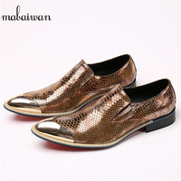 d5e750cab Mabaiwan Italy Casual Men Shoes Snakeskin Leather Loafers Fashion Slipper  Wedding Dress Shoes Men Slip On