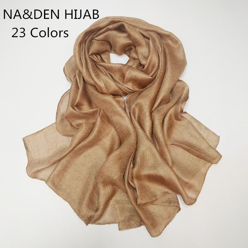 2020 Luxury Women Scarf Shimmer Plain Scarves Silk Oft Muslim Head Hijab Solid Ipashmina Echarpe Wrap Fashion Muffler Hot Sale