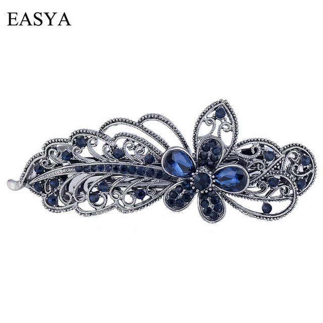 EASYA Blue Peacock Hairpins Rhinestone Crystal Flower Leaf Hair Clip  Barrettes Vintage Hair Accessories Jewelry For e14a97c4a0ee