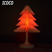 ICOCO USB Recharageable Colorful LED Touch Control Night Light Mini Christmas Tree Desk Lamp Foldable Book Shape Lamp for 11.11