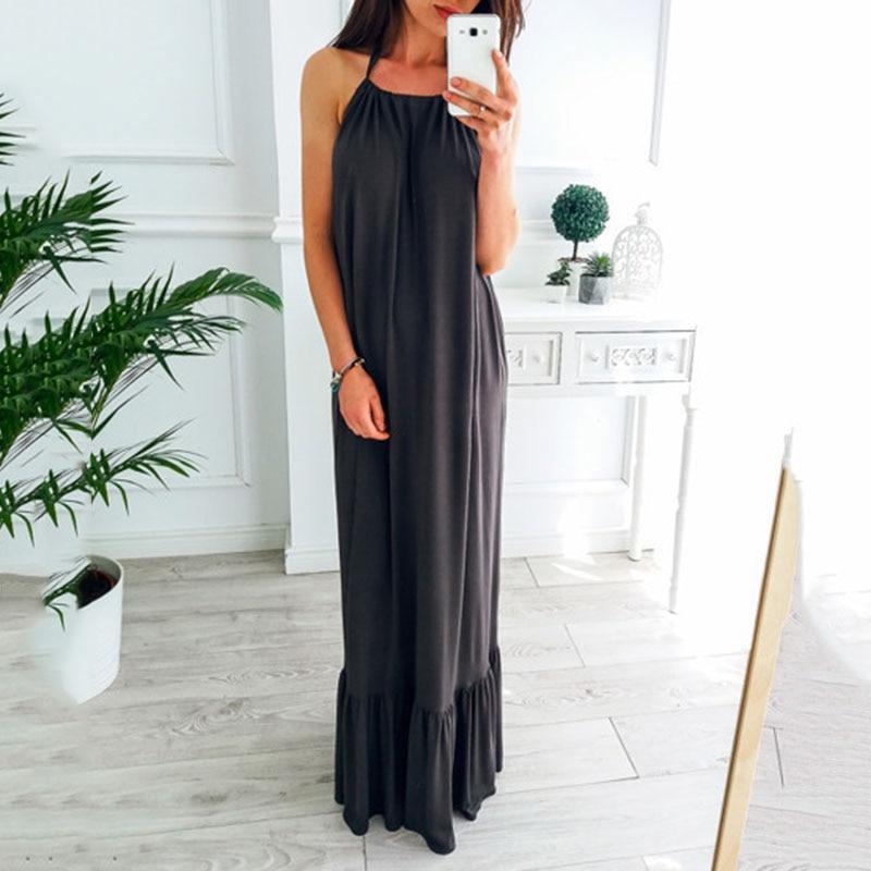 Women Casual Dress Fashion loose Halter Sexy Backless Long Maxi dress White Black Falbala Vacation Beach dress Sundress