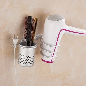 Wall Mounted Hair Dryer Organizer Hair Dryer Comb Holder Spiral Stand Holder Rack Aluminum Punch-free Bathroom Shelf Storage ledfre wall hair dryer rack bathroom hair dryer storage rack free of punch wall mounted hair dryer rack for bathroom