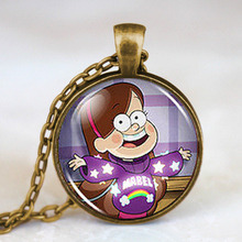 2017 Gravity Falls Mabel BILL CIPHER WHEEL Steampunk Mabel Pines Pendant Necklace 1pcs/lot chain mens new chain fob vintage lady