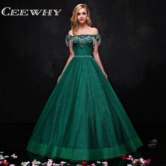CEEWHY Boat Neck Green Lace Formal Dress Muslim Dubai Saudi Arabia ...