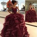 Luxo Borgonha Vestidos Quinceanera 2017 vestido de Baile Em Camadas Ruffles Doce 16 Anos Da Princesa Vestidos Para 15 Anos Plus Size