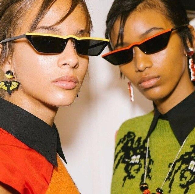 40219426aa2 VCKA Vintage Half Frame Sunglasses Women Cat Eye Small Black Red Colorful Flat  Top Sun glasses