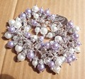 White Purple Mother of Pearl Bracelet Charm Link