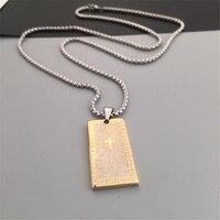 Neue Edelstahl Gold/Silber Überzogene Blble Print Kreuz Charme Hundemarke Anhänger Halsketten Hip Hop Style Cuban Link kette Halskette