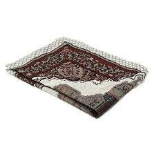 110X65Cm Lichtgewicht Zachte Tafelkleed Borduren Gebedskleed Draagbare Home Decoratie Islamitische Moslim Deken Kwastje Wandtapijt Gift