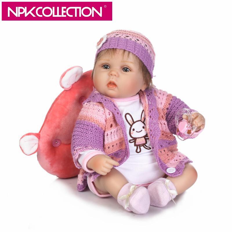 NPK 17 Inch Lifelike Reborn Baby Doll Lovely Baby Doll Soft Vinyl Silicone Touch Newborn Toddler Toy Kids Birthday Gift