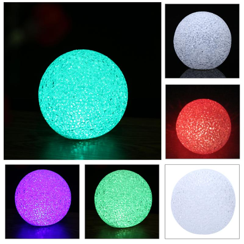 7 Colors Changing Crystal Ball LED Night Light Lamp For Christmas Wedding  Decor With Button Cell