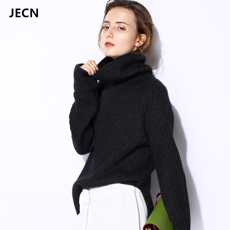 JECH 2017 Winter New Fashion Women Warm Sweaters Casual Full Sleeve Turtleneck Loose Pullovers Christmas Gift Computer Knitted