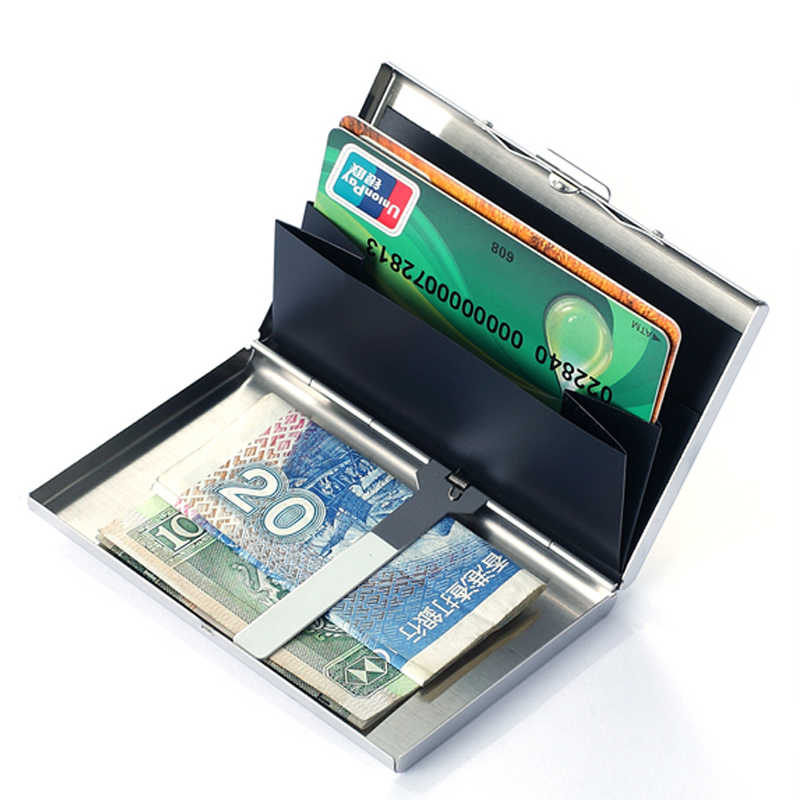 Rfid Rvs Silver Metal Bank Id Kaarthouder Vrouwen Mannen Credit Card Cover Business Houders Organizer Purse Coin Wallet