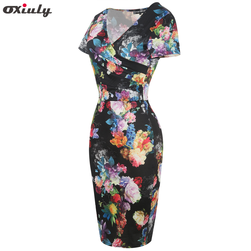 Oxiuly Women Bamboo Floral Stripe Print Ruffle V Neck Dress Short Sleeve  Knee Length Dresses Ladies Casual Sheath Dress Vestidos  2a2dabd87