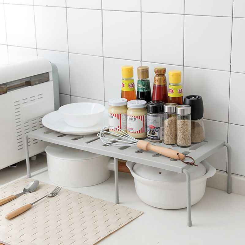 1pcs Expandable Cabinet Abs Shelf Adjule Kitchen Countertop Organizer Storage Rack For Dish Cookware Canned Food Mugs Cups