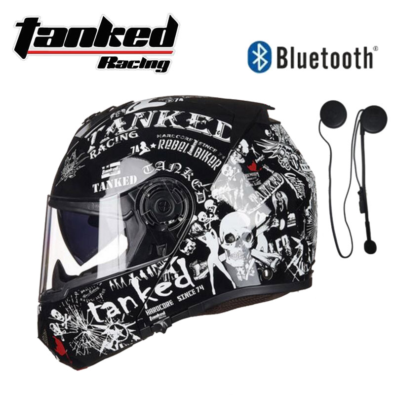 German Band Tanked Racing Double lens Motorcycle Helmets Flip Up Helmet ABS Open Face Motorbike Safety helmet with Bluetooth no2 free shipping bluetooth helmet for phone motorcycle helmet roadcross double visors racing helmets with sunny lens s m l xll