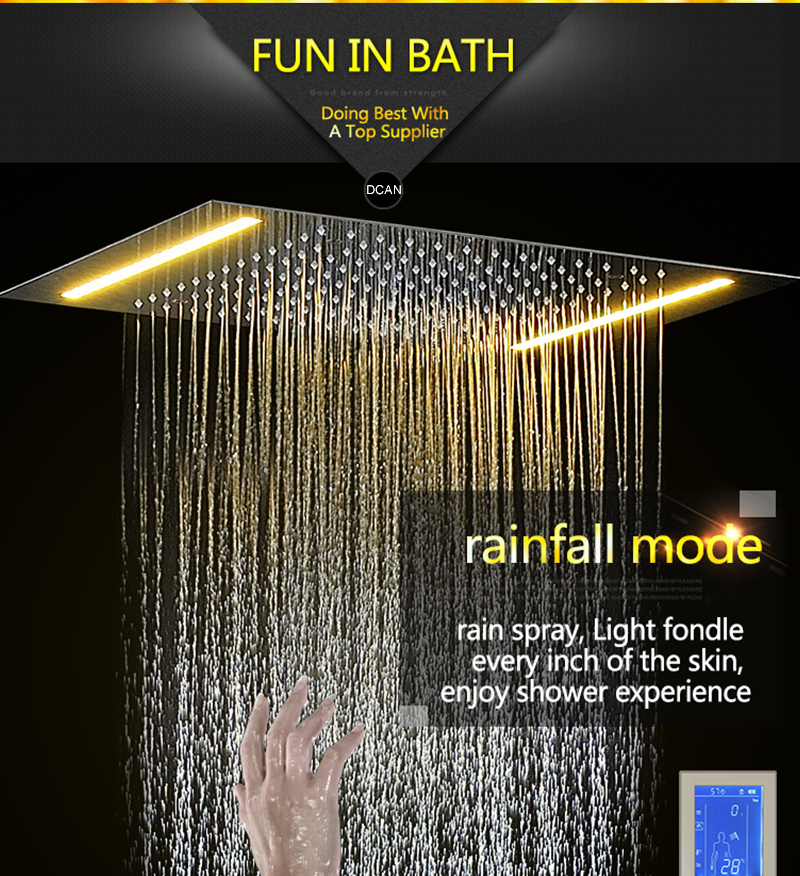 Digital Shower Set Controller Touch Control Panel SUS304 Rainfall Bathroom Thermostatic Control Led Digital Shower Faucet (7)