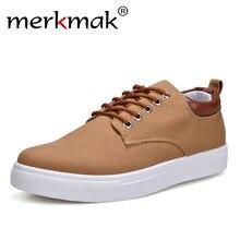 b77860c2c Merkmak/парусиновая обувь мужская повседневная обувь 2018 весна осень  кроссовки на шнуровке Мужская удобная обувь большой размер.