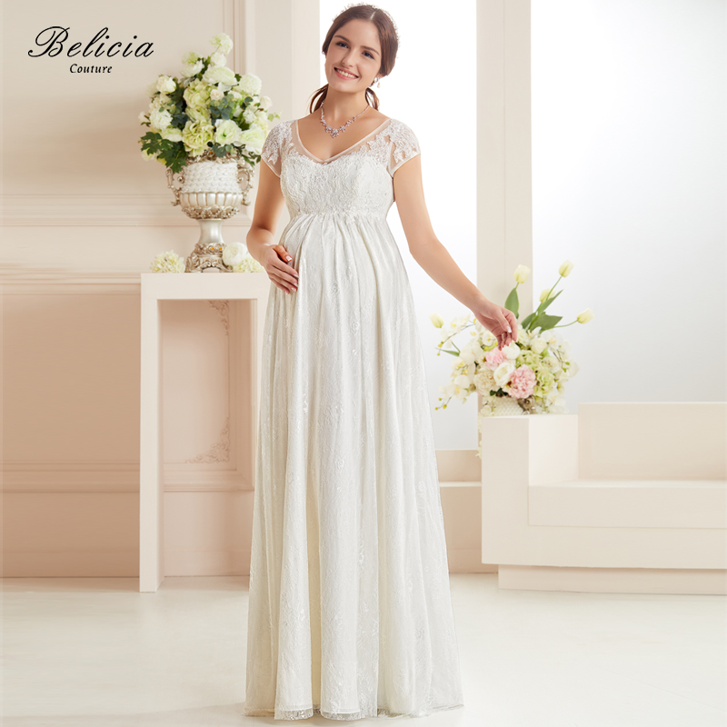 Belicia couture overall lace maternity wedding dress for Wedding dresses with lace up back