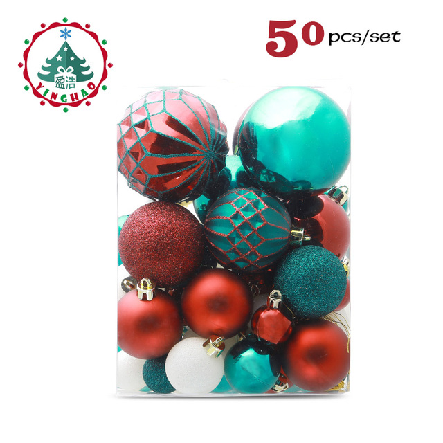 Inhoo 50pcs Christmas Decoration Ball Ornaments Pendant Accessories Red  Green Gold Bauble Balls Decor For Christmas