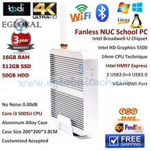 3Years Warranty Eglobal Fanless NUC Mini PC Intel Broadwell Core i3 5005U 2.0GHz 16GB RAM 512GB SSD 500GB HDD Server Media HTPC