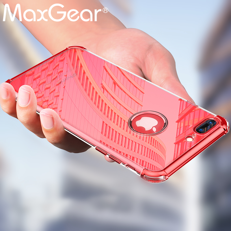 MaxGear Case For iPhone 7 8 Plus Transparent Case For iPhone 6 6s Plus Luxury Plating Plastic Hard Phone Cover Shockproof