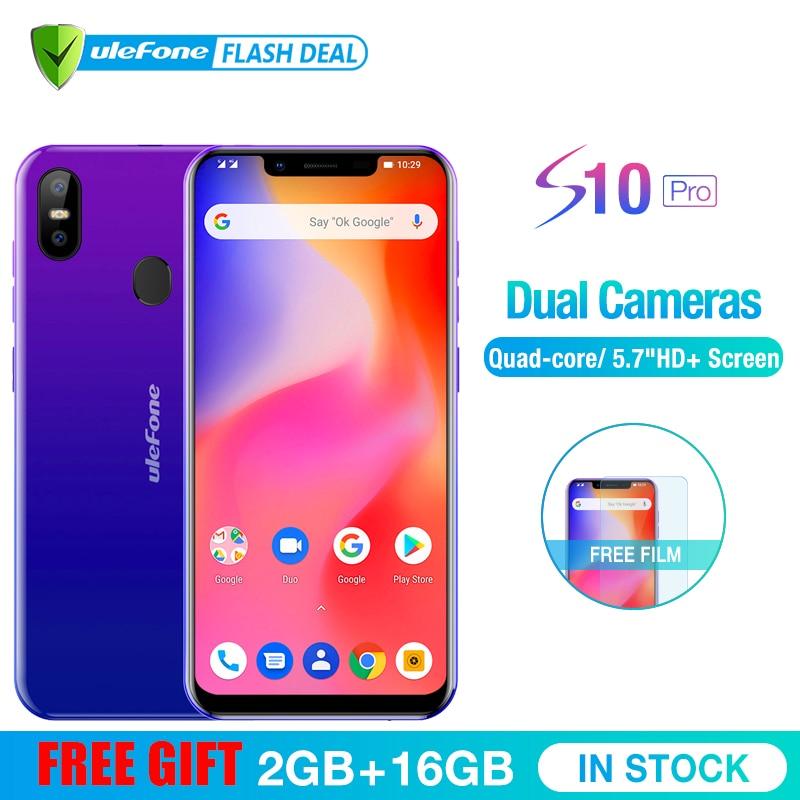 Ulefone S10 Pro teléfono móvil Android 8,1 de 5,7 pulgadas MT6739WA Quad Core 2 GB RAM 16 GB ROM 16MP + 5MP trasera Cámara Dual 4G Smartphone
