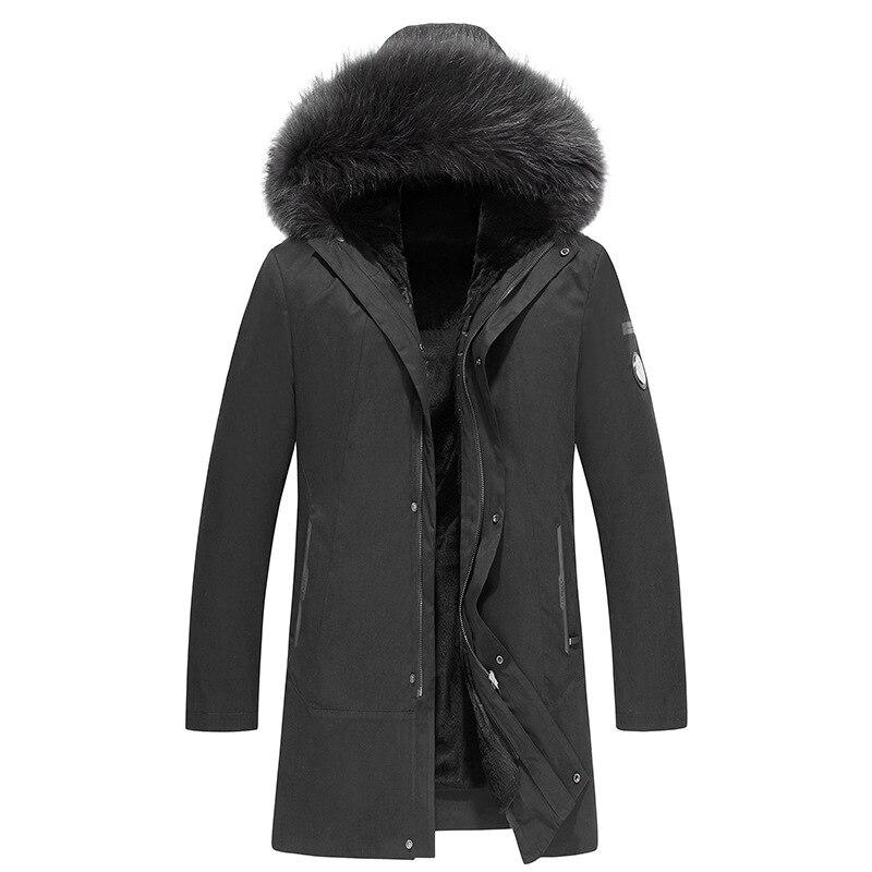 Nouveauté veste d'hiver hommes parka avec capuche en fourrure de renard manteaux d'hiver russes et vestes à l'intérieur épaisse fourrure chaude grande taille