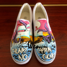 Wen Canvas Shoes Design Slogan Chunk! No,Captain Chunk! Hand Painted Shoes Custom Slip On Boys Girls Outdoor Sneakers