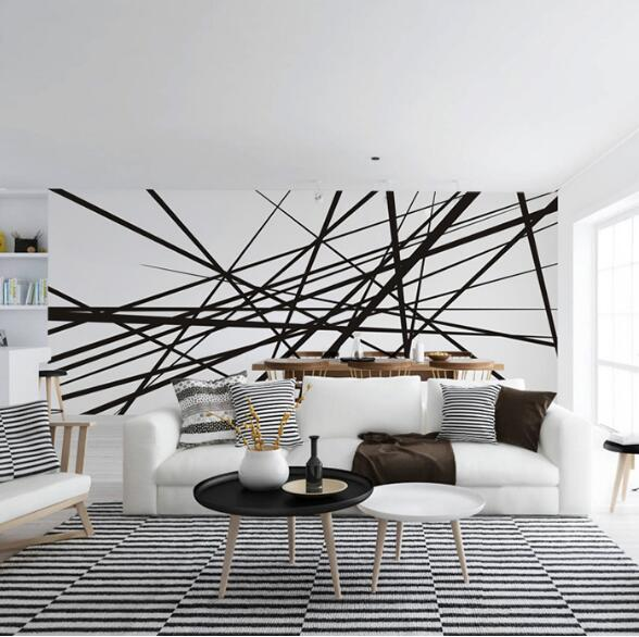 Abstract Photo Mural Wallcoverings 3D Custom Any Size Wallpapers Murals Wall Paper Roll Wall Art Decor Black White Line