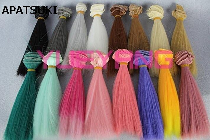 1pcs Doll Wig Refires bjd Hair 15cm*100CM Gold brown Green Pink Red Black Color Straight Wig Hair For 1/3 1/4 BJD Dolls diy