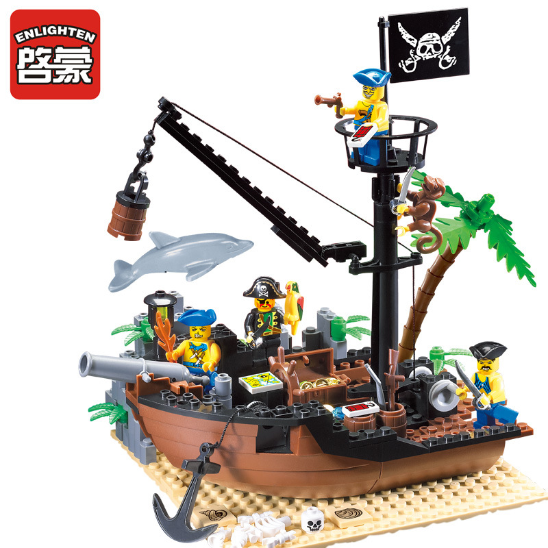 178 pcs ENLIGHTEN Pirate Series Building Blocks Boat Compatible with Pirates Ship Block Toy for Children Boy Educational Toy 306 susengo pirate model toy pirate ship 857pcs building block large vessels figures kids children gift compatible with lepin