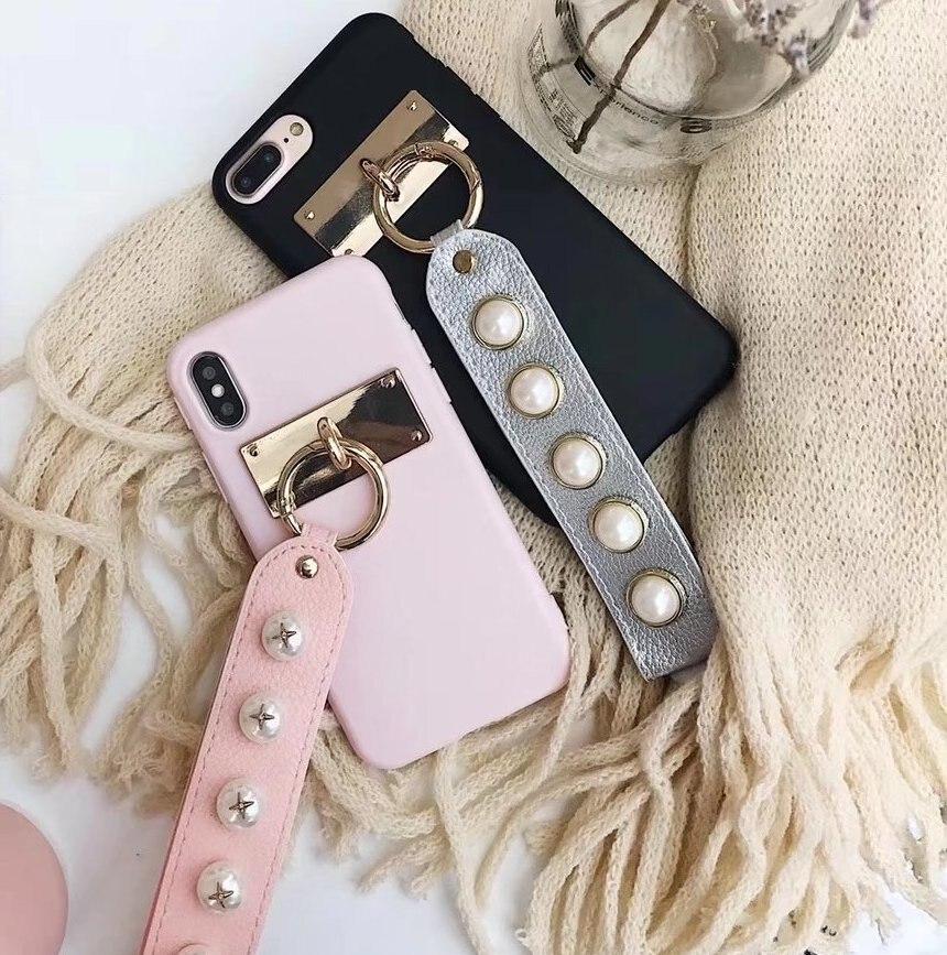 Для IPhone X модные женские туфли жемчужный браслет сотовом телефоне Чехлы для Apple iPhone 6 6S 7 8 плюс Для женщин чехол с жемчугом браслет Капа