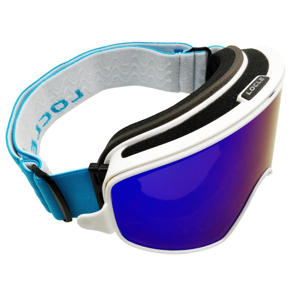 LOCLE Magnetic Ski Goggles Double Lenses UV400 Anti-fog Ski Snowboard Ski Mask Glasses for Men Women Ski Eyewear Ski All Day
