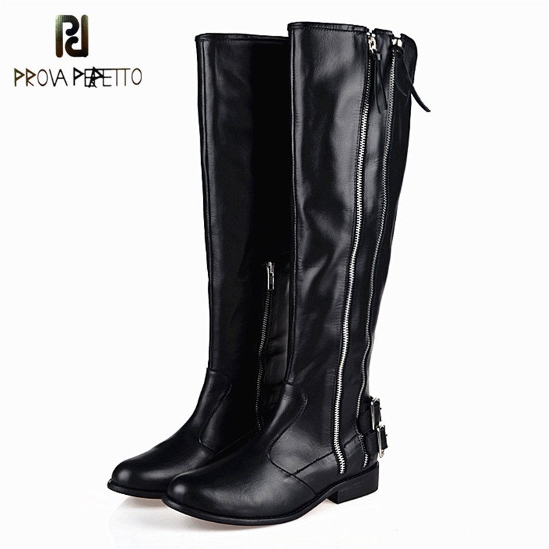 Prova Perfetto 2018 Winter Black High Quality Fashion Woman Boots Real Leather Cow Suede Flat Knight Boots Keep Warm Long BootsProva Perfetto 2018 Winter Black High Quality Fashion Woman Boots Real Leather Cow Suede Flat Knight Boots Keep Warm Long Boots