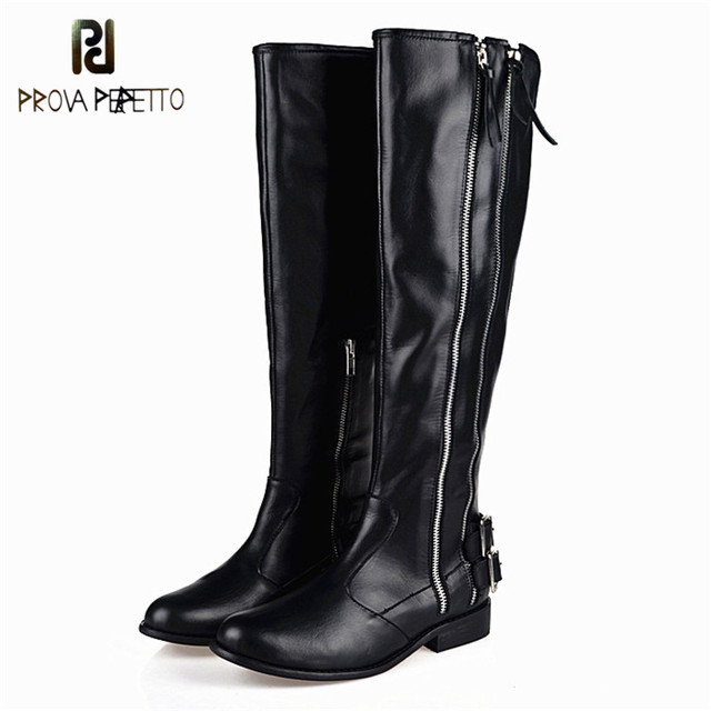 Prova Perfetto 2018 Winter Black High Quality Fashion Woman Boots Real Leather Cow Suede Flat Knight Boots Keep Warm Long Boots