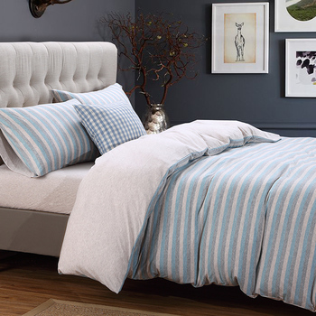 Knitted Cotton Soft Bedclothes Blue Grey Brown Stripe Bedding set Twin Queen King Size Fit sheet Bed Duvet cover set 36