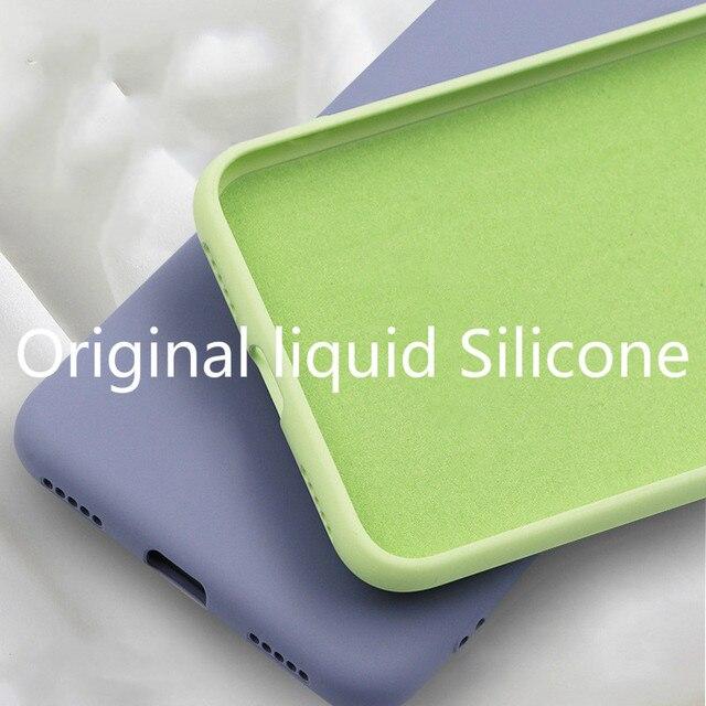 لينة السائل سيليكون جراب هاتف ل iphone X XS ماكس XR 7 8 6 6 S زائد لينة هلام المطاط للصدمات غطاء كامل واقية عودة حالة