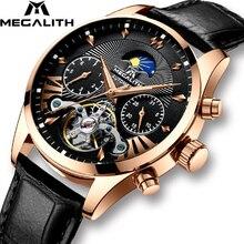 Relojes de MEGALITH para hombre, reloj mecánico automático resistente al agua, de moda para hombres, reloj de Tourbillon, reloj de pulsera deportivo para hombre