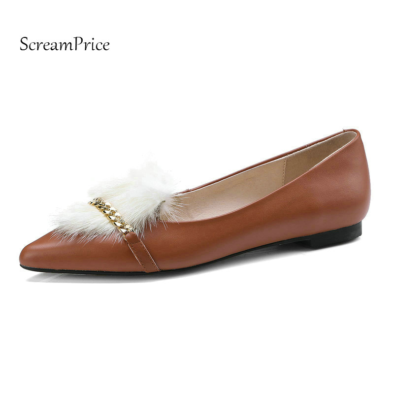The New Genuine Leather Comfort Flat With Woman Shoes Fashion Fur Casual Shoes Woman Black Brown White постельное белье эго комплект 1 5 спальный полисатин