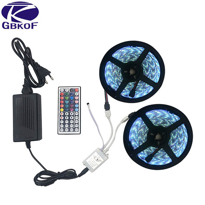 5m 10m Waterproof LED RGBW RGBWW RGB strip light SMD 5050 Light Remote control Power Adapter Innrech Market.com
