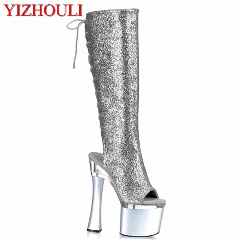 High Schuhe Silber Heels Wear Open 18cm Stiefel Toe Mode Frau Club offene Ritter Frauen hochhackige weibliche kniehohe Pk0O8nw