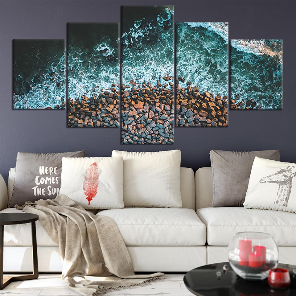 Modern Canvas Printed Poster Home Decor 5 Pieces Sea Wave Painting Stone Wall Art Landscape Pictures Cuadros Living Room Modular