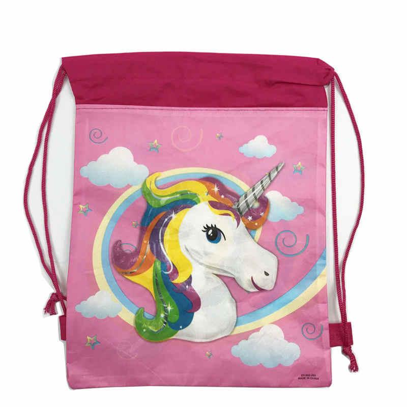 Unicorn בית ספר תרמיל שרוך קריקטורה שקית עבור בנות, בנים נסיעות אחסון שקית