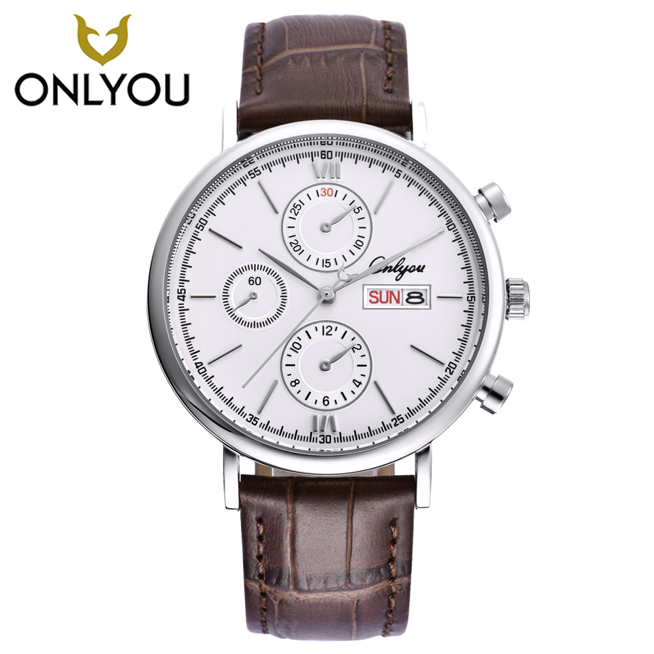 ONLYOU Watch Men Quartz Watches in Sport Week Display Leather Watchband Man Chronograph Decoration Boy Wristwatch Black Clock onlyou men s watch women unique fashion leisure quartz watches band brown watch male clock ladies dress wristwatch black men