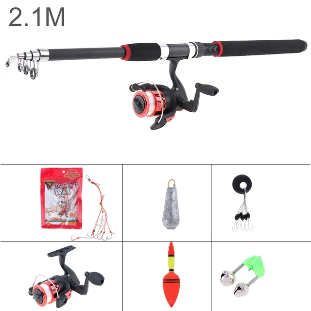 2.1m Fishing Rod Reel Line Combo Full Kits Spinning Reel Pole Set with Carp Fishing Lures Fishing Float Hooks Bell Lead weight