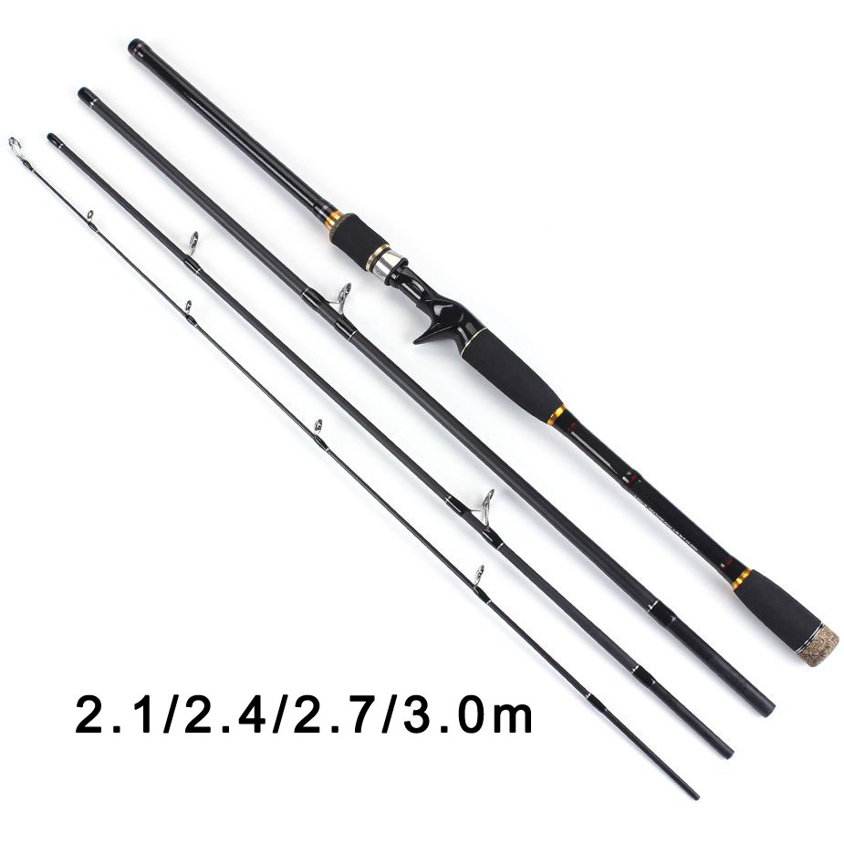 TOMA 2.1m 2.4m 2.7m 3.0m 100% Carbon Fiber Rod Spinning Fishing Rods Casting Travel Rod 4 Sections Fast Action Fishing Lure Rod title=