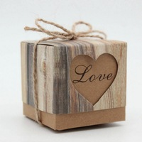 50pcs Candy Box Wedding Hearts In Love Rustic Kraft Imitation Bark With Burlap Twine Chic Vintage